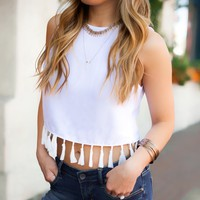 Let It Be Tassel Top in White