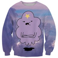 Alisister Cute Adventure Time Hoodie women/men Print Lumpy Space Princess Sweatshirt Purple Cloud Sweats Shirt 3d Sweatshirt