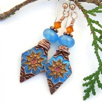 Aqua Blue and Yellow Boho Star Flower Earrings, Bopper Frosted Lampwork Swarovski Handmade Jewelry
