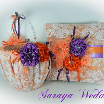Flower Girl Basket and Ring Bearer Pillow Set in Orange Satin, White Lace, Wedding Set, Wedding Favors Basket, Wedding Gifts, Ring Boy