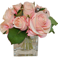 "7"" Roses in Cube Vase, Faux, Arrangements"