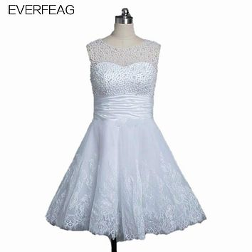 EVERFEAG Cheap Knee Length Wedding Dresses 2017 Pearls Beading Fast Shipping