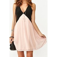Noble V-Neck Color Block Sleeveless Dress For Women | Kitty's Clawset