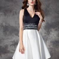A-line/Princess V-neck Rhinestone Sleeveless Short/Mini Satin Dresses - Jolly Belle