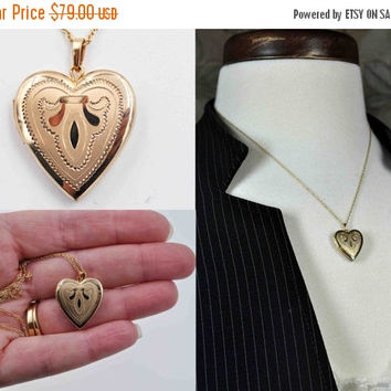ON SALE Vintage Krementz Gold Heart Locket Necklace, 14K Rolled Gold, 14K Gf, Satin, Shiny, Pendant, Engraved, Chased, So Lovely! #b863