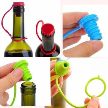 DCCKL72 New Kitchen Anti-lost Silicone Hanging Button Seasoning Beer Wine Cork Stopper Plug Bottle Cap Cover Perfect Home Kitchen Tools