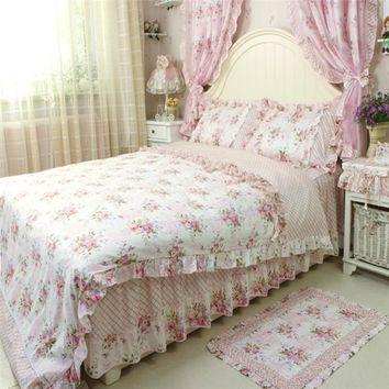 4pcs/set pastoral vintage bedding set for wedding decoration bedding princess ruffle duvet cover elegant flower print bed skirt