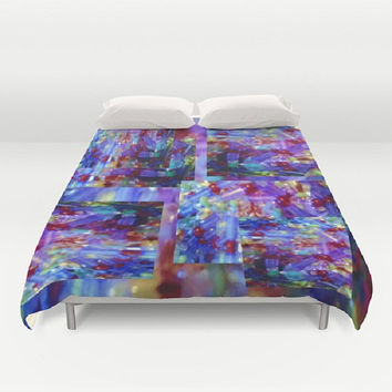 Colorful Print on Print Duvet Cover Lavender Purple Duvet Cover Funky Duvet Cover Crushed Purple Duvet Cover Lavender Bedding Artistic