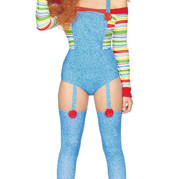 Come Out To Play Blue Red Green Stripe Pattern Long Sleeve Off The Shoulder Overall Cut Out Bodycon Jumpsuit Halloween Costume