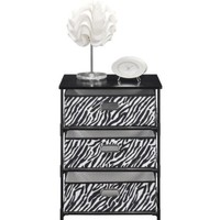 Altra Furniture 7776096 3-Bin Zebra Print Fabric Storage End Table