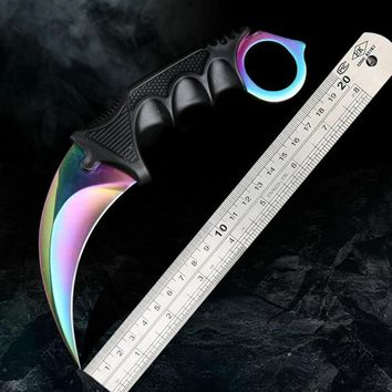 SKTPDD CS GO Karambit Tactical Hunting Fixed Knife Combat Survival Neck Claw Knives Utility Camping Outdoor Pocket Rescue Tools