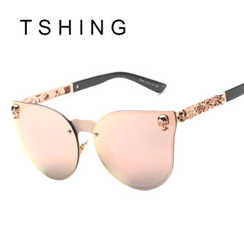 TSHING New 2016  Fashion Unique Skull Cat Eyes Sunglasses Men Oversized Rimless Vintage Sunglasses For Women UV400