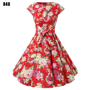 Casual Women Dress Summer Short Sleeve Tunic Retro Vintage 1950s 60s Big Swing Midi Red Long Floral Dresses Plus Size VD0238