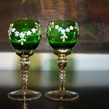 Cordial Green Glass Stemware Hand Decorated Flowers Painted Gold