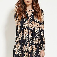 Pleated-Front Floral Dress