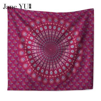 JaneYU Peacock Tapestry Home Textiles Indian Mandala Tapestry Wall Hanging Bohemian Bedspread Hippie Sheet