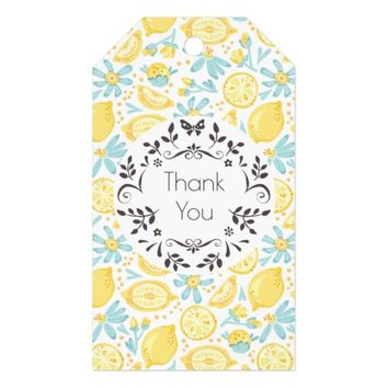 Yellow Lemons & Blue Flowers Pattern Thank You Gift Tags