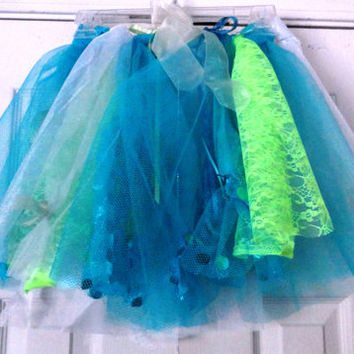 "Tutu, Little Girls Tutu, Frozen Theme, Adorable, Cute, Blues and Greens,19"" to 24"" waist, adjustable ribbon, Tullle, Lace, Sheer Ribbon"