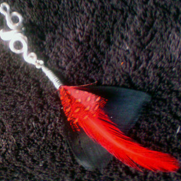 Swirl Vine with Red & Black Feather Ear Cuff