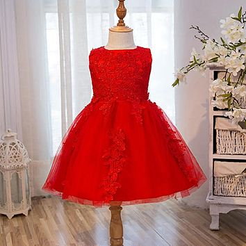 Top Quality Girl Red Dress First Communion Dresses Kids Birthday Tulle Lace Infant Toddler Pageant Flower Girl Dresses