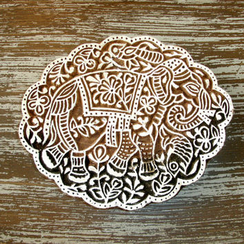 Hand Carved Wood Stamp: Elephant Stamp, Large Scalloped Indian Wooden Printing Block, Ceramics Textile Clay Pottery Craft Stamp, from India