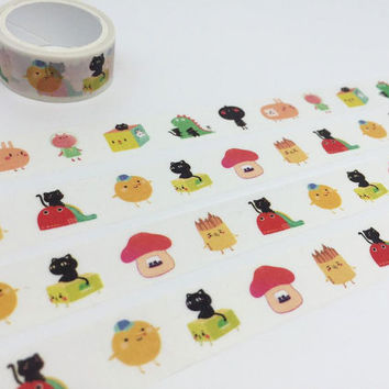 cartoon characters tape 3M Cat mushroom house rabbit animal washi tape funny cartoon sticker tape kids planner kids diary scrapbook gift