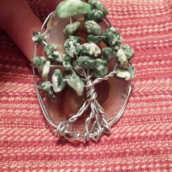 Freeform Tree Wire Wrapped Agate Slice Pendant Necklace with Green Semiprecious Stone Beads / Hippie Gypsy Boho Statement Jewelry