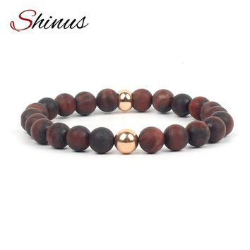 Wood Bead Healing Meditation Bracelet with Gold or Silver Accent Beads - 8MM