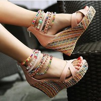 Glitter Bead Girls Chunky Wedge Platform Stripe Zipped Sandals High Heels