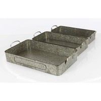 Ancient Metal Tray,Silver,Set Of 3
