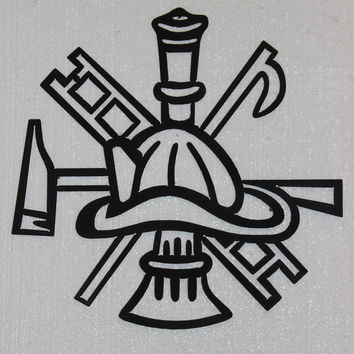 Firemans Helmet Hook and Ladder Fire Decor Metal Wall Art