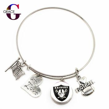 Oakland Raiders Adjustable I Love Football Expandable Women&Men Bangle Bracelets With Ginger Snaps Buttons Jewelry Sports Charms