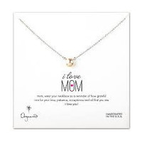 DOGEARED SILVER I LOVE YOU MOM NECKLACE, LARGE WHITE PEARL