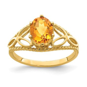 14k Yellow Gold 8x6mm Oval Citrine Ring