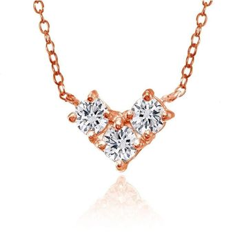 Three Stone Cubic Zirconia Triangle Necklace in Rose Gold Plated 925 Silver