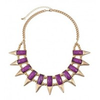 Faceted Stone And Spike Collar Necklace