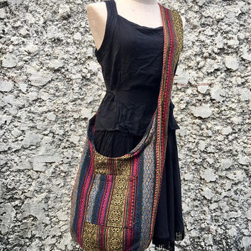 Boho Crossbody Sling bag Tribal Woven Hippie Aztec Nepali festival Bag Tote Hmong bag Vegan Unique gift Ikat Ethnic style for Men Women