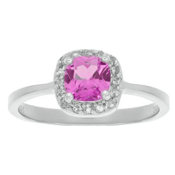 1.20 Ct Cushion Pink Sapphire and White Topaz 925 Sterling Silver Ring