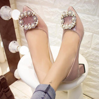 2016 HOT women pumps luxury handmade pearls women shoes square low heels pointed toe quality office party heels nude ALF503