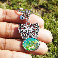 Butterfly keyring, Fish scales, Mermaid scales keychain, bag charm, purse charm, monogram personalized custom gifts under 15 item No.910