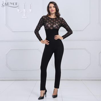 Jumpsuits Sexy O Neck Mesh Patchwork Beading Long Sleeve Club Full Length Jumpsuit