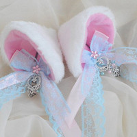 White pink and blue - clip on cat ears with sparkly stones and earrings - neko lolita cosplay costume - kitten play accessories