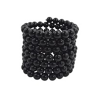Rockabilly Gothic Multi-Layered Black Beads Stretch Bracelet