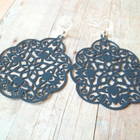 D E N I M - Navy Denim Dark Blue Swirl Lace Hand Painted Metal Filigree Silver Plated Dangle Earrings