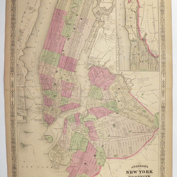 Rare New York City Map, Brooklyn Map, NYC 1867 Johnson Map, Unique Wedding Gift for Couple, Office Decor Gift, Big Apple Antique Art Map