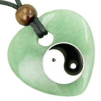 Heart Money Talisman Lucky Ying Yang Aventurine Gem Necklace