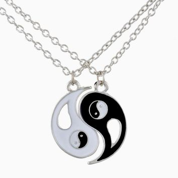 2017 New Fashion Drop Shipping 1Set Best Friends Ying Yang Necklaces Two Bagua Charm Pendant Necklaces For Gifts