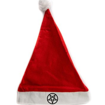 Inverted Pentagram Holiday Christmas Hat Santa Cap Red/White Felt w/ Pom Pom Merry Gothmas