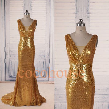Gold Sequins Lace Mermaid Long Prom Dresses ,Fashion Evening Dresses ,Formal Party Dresses,Beaded Red Carpet Dresses , Wedding Party Dresses