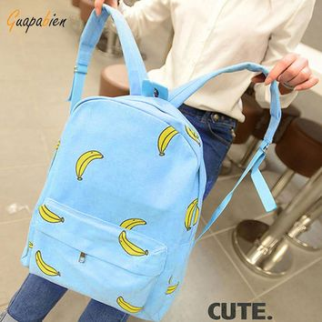 Korean Banana Print Women Backpacks Girl Mustache Traveling Pratical School Bags Fashion Rucksack Canvas Backpack